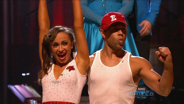 "<div class=""meta ""><span class=""caption-text "">Corbin Bleu and Karina Smirnoff react to being safe on week two of 'Dancing With The Stars' on Sept. 23, 2013. They received 26 out of 30 points from the judges for their Jive. (ABC Photo)</span></div>"