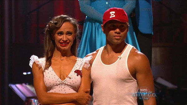 "<div class=""meta ""><span class=""caption-text "">Corbin Bleu and Karina Smirnoff await their fate on week two of 'Dancing With The Stars' on Sept. 23, 2013. They received 26 out of 30 points from the judges for their Jive. (ABC Photo)</span></div>"