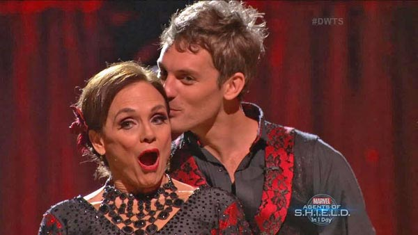 "<div class=""meta ""><span class=""caption-text "">Valerie Harper and Tristan MacManus react to being safe on week two of 'Dancing With The Stars' on Sept. 23, 2013. They received 19 out of 30 points from the judges for their Paso Doble. (ABC Photo)</span></div>"