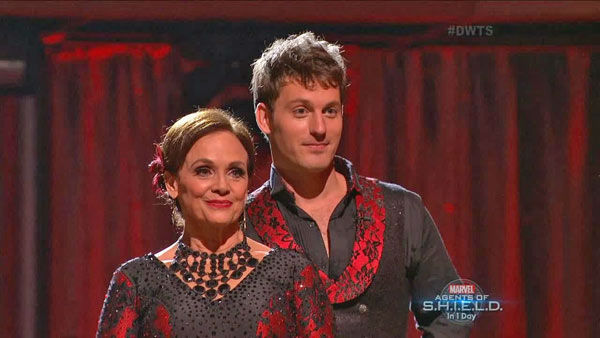 "<div class=""meta ""><span class=""caption-text "">Valerie Harper and Tristan MacManus await their fate on week two of 'Dancing With The Stars' on Sept. 23, 2013. They received 19 out of 30 points from the judges for their Paso Doble. (ABC Photo)</span></div>"