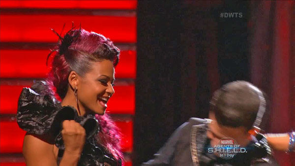 "<div class=""meta image-caption""><div class=""origin-logo origin-image ""><span></span></div><span class=""caption-text"">Christina Milian and Mark Ballas await their fate on week two of 'Dancing With The Stars' on Sept. 23, 2013. They received 25 out of 30 points from the judges for their Paso Doble. (ABC Photo)</span></div>"