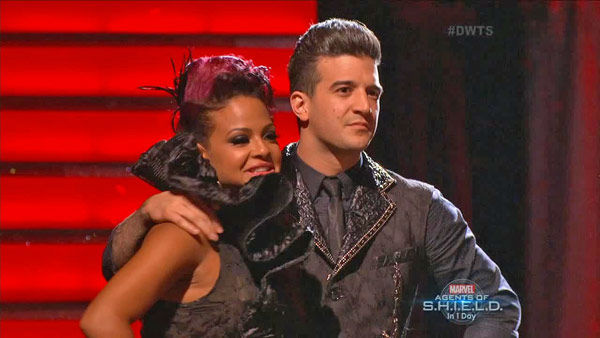 Christina Milian and Mark Ballas react to being safe on week two of &#39;Dancing With The Stars&#39; on Sept. 23, 2013. They received 25 out of 30 points from the judges for their Paso Doble. <span class=meta>(ABC Photo)</span>