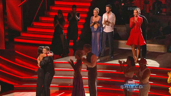 Jack Osbourne and Cheryl Burke react to being safe on week two of &#39;Dancing With The Stars&#39; on Sept. 23, 2013. They received 24 out of 30 points from the judges. <span class=meta>(ABC Photo)</span>