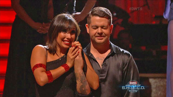 "<div class=""meta ""><span class=""caption-text "">Jack Osbourne and Cheryl Burke await their fate on week two of 'Dancing With The Stars' on Sept. 23, 2013. They received 24 out of 30 points from the judges. (ABC Photo)</span></div>"