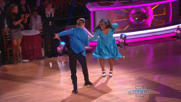 Amber Riley and Derek Hough dance the Jive on week two of &#39;Dancing With The Stars&#39; on Sept. 23, 2013. They received 24 out of 30 points from the judges. <span class=meta>(ABC Photo)</span>