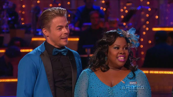 "<div class=""meta ""><span class=""caption-text "">Amber Riley and Derek Hough danced the Jive on week two of 'Dancing With The Stars' on Sept. 23, 2013. They received 24 out of 30 points from the judges. (ABC Photo)</span></div>"