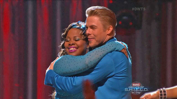 Amber Riley and Derek Hough react to being safe on week two of &#39;Dancing With The Stars&#39; on Sept. 23, 2013. They received 24 out of 30 points from the judges for their Jive. <span class=meta>(ABC Photo)</span>