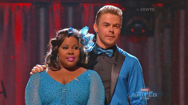 "<div class=""meta ""><span class=""caption-text "">Amber Riley and Derek Hough await their fate on week two of 'Dancing With The Stars' on Sept. 23, 2013. They received 24 out of 30 points from the judges for their Jive. (ABC Photo)</span></div>"