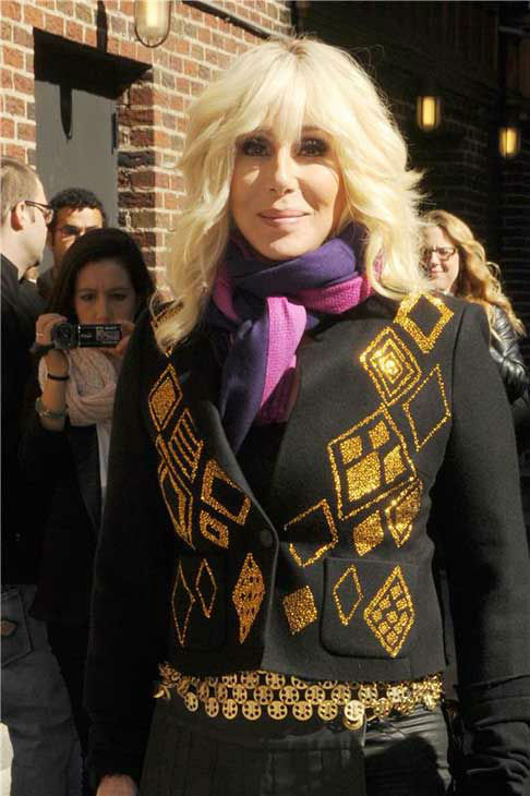 Cher sports a blonde hair 'do at a taping of 'The Late Show with David Letterman' in New York City on Sept. 24, 2013.