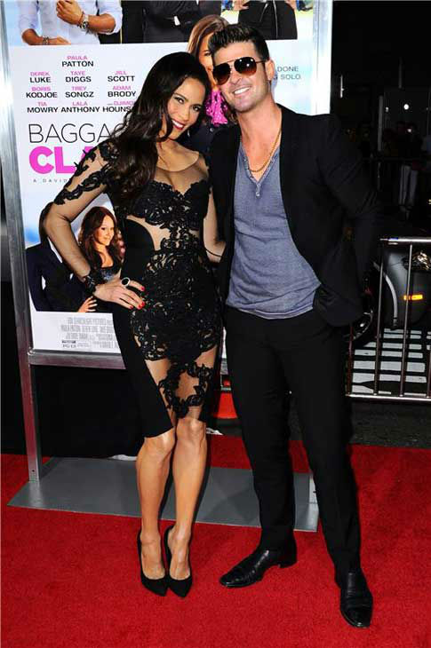 Paula Patton and Robin Thicke appear at the Los Angeles, California premiere of &#39;Baggage Claim&#39; on Sept. 25, 2013. <span class=meta>(Sara De Boer &#47; Startraksphoto.com)</span>