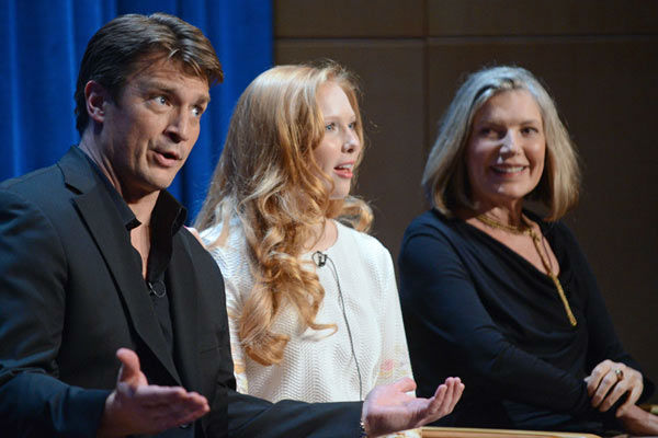 Nathan Fillion, Molly C. Quinn and Susan Sullivan appear at a &#39;Castle&#39; event at the Paley Center in Los Angeles, California on Sept. 30, 2013. <span class=meta>(Kevin Parry for Paley Center)</span>