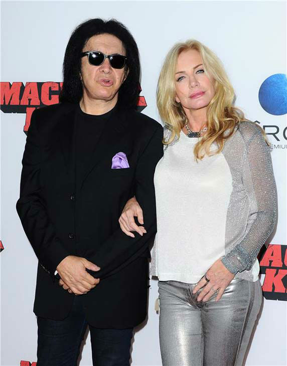 Gene Simmons and Shannon Tweed appear at the 'Machete Kills' premiere in Los Angeles, California on Oct. 2, 2013.
