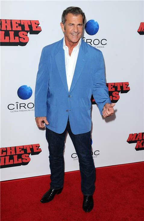 Mel Gibson appears at the 'Machete Kills' premiere in Los Angeles, California on Oct. 2, 2013.