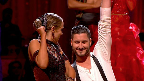 Elizabeth Berkley and Val Chmerkovskiy react to being safe on week four of &#39;Dancing With The Stars&#39; on Oct. 7, 2013. They received 27 out of 30 points from the judges for their Argentine Tango. <span class=meta>(ABC Photo)</span>
