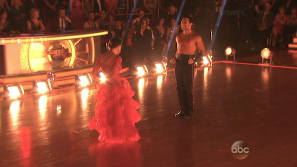 "<div class=""meta image-caption""><div class=""origin-logo origin-image ""><span></span></div><span class=""caption-text"">Corbin Bleu and Karina Smirnoff dance the Paso Doble on week four of 'Dancing With The Stars' on Oct. 7, 2013. They received 27 out of 30 points from the judges. (ABC Photo)</span></div>"