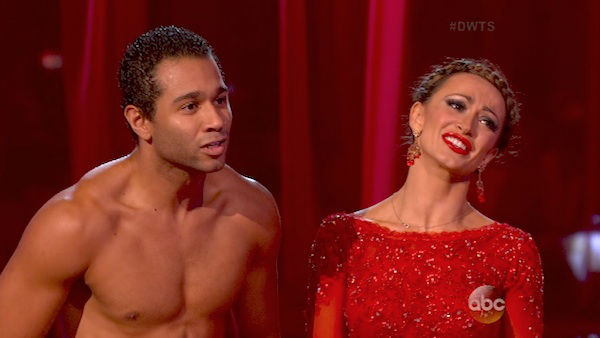 "<div class=""meta image-caption""><div class=""origin-logo origin-image ""><span></span></div><span class=""caption-text"">Corbin Bleu and Karina Smirnoff danced the Paso Doble on week four of 'Dancing With The Stars' on Oct. 7, 2013. They received 27 out of 30 points from the judges. (ABC Photo)</span></div>"