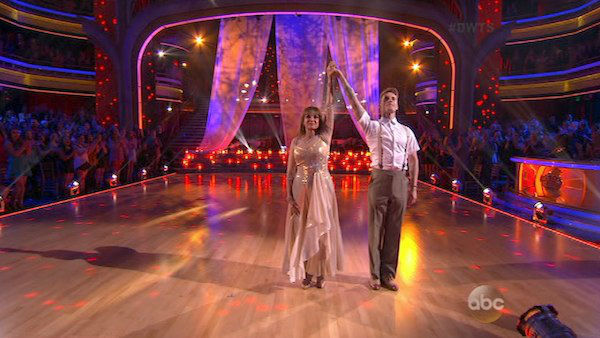 Valerie Harper and Tristan MacManus dance the Viennese Waltz on week four of &#39;Dancing With The Stars&#39; on Oct. 7, 2013. They received 18 out of 30 points from the judges. <span class=meta>(ABC Photo)</span>