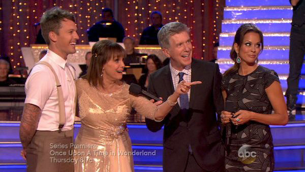 "<div class=""meta image-caption""><div class=""origin-logo origin-image ""><span></span></div><span class=""caption-text"">Valerie Harper and Tristan MacManus react to being eliminated on week four of 'Dancing With The Stars' on Oct. 7, 2013. They received 18 out of 30 points from the judges for their Viennese Waltz. (ABC Photo)</span></div>"