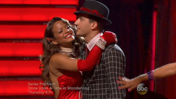 "<div class=""meta ""><span class=""caption-text "">Christina Milian and Mark Ballas react to being safe on week four of 'Dancing With The Stars' on Oct. 7, 2013. They received 24 out of 30 points from the judges for their Foxtrot. (ABC Photo)</span></div>"