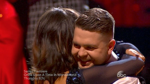 Jack Osbourne and Cheryl Burke react to being safe on week four of &#39;Dancing With The Stars&#39; on Oct. 7, 2013. They received 24 out of 30 points from the judges for their Quickstep. <span class=meta>(ABC Photo)</span>