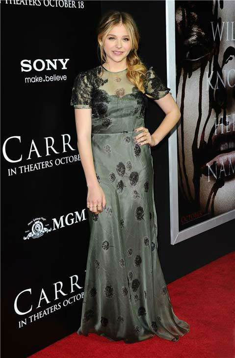 Julianne Moore appears in a Valentino gown at the premiere of 'Carrie' in Los Angeles, California on Oct. 7, 2013.