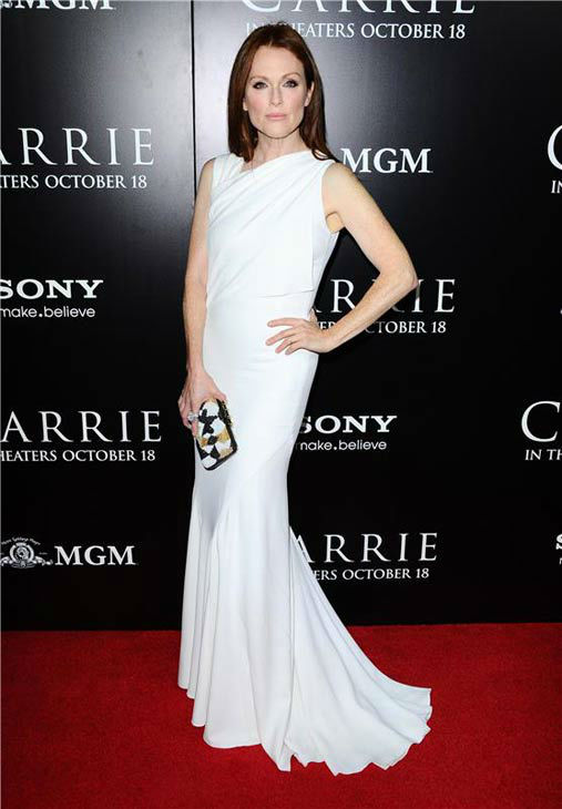 Julianne Moore appears in a white Givenchy gown at the premiere of &#39;Carrie&#39; in Los Angeles, California on Oct. 7, 2013. <span class=meta>(Sara De Boer &#47; startraksphoto.com)</span>