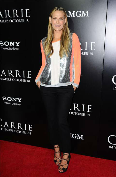 Molly Sims appears at the premiere of 'Carrie' in Los Angeles, California on Oct. 7, 2013.