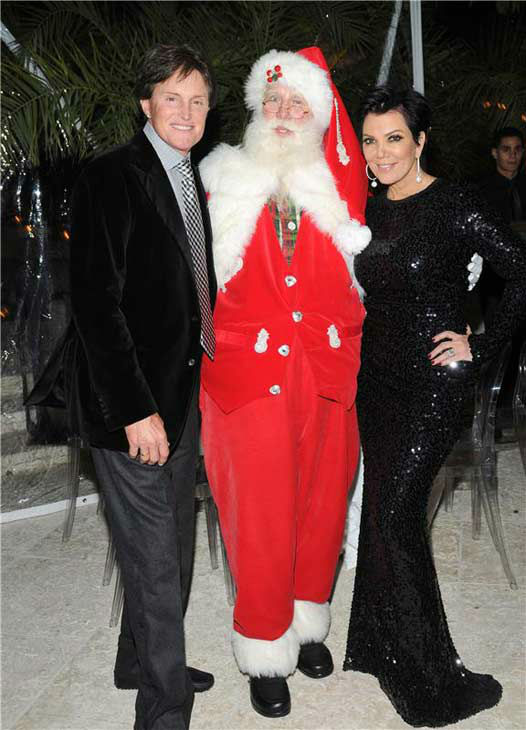 Kris and Bruce Jenner appear at the annual Kardashian Christmas Eve party on Dec. 24, 2011.