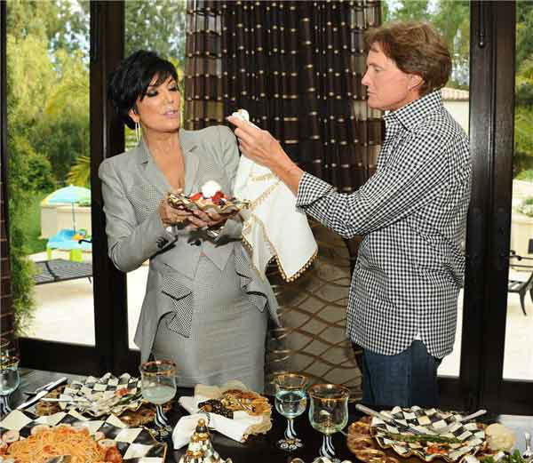 Kris and Bruce Jenner appear with Kris' Favorite MacKenzie-Childs Tableware in Los Angeles, California on April 26, 2012.