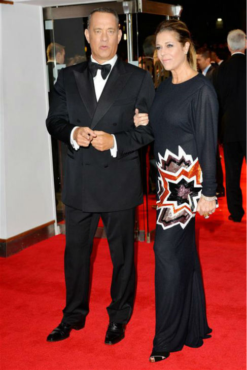Tom Hanks and wife Rita Wilson attend the premiere of 'Captain Phillips' at the 57th annual BFI London Film Festival in London on Oct. 9, 2013.