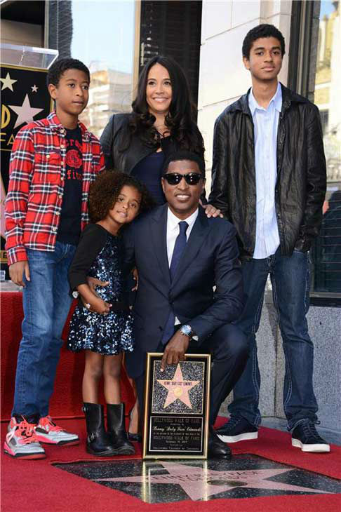 Kenny &#39;Babyface&#39; Edmonds, who received a star on the Hollywood Walk of Fame on Oct. 10, 2013, appears with his family. <span class=meta>(Lionel Hahn&#47;Abacausa&#47;startraksphoto.com)</span>