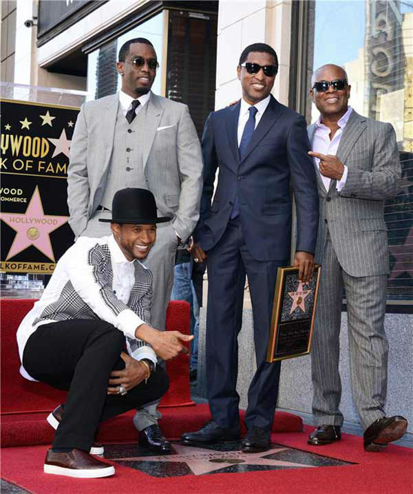Kenny &#39;Babyface&#39; Edmonds, Usher, Sean P.Diddy Combs and L.A Reid appear at the ceremony for Edmonds, who received a star on the Hollywood Walk of Fame on Oct. 10, 2013. <span class=meta>(Lionel Hahn&#47;Abacausa&#47;startraksphoto.com)</span>