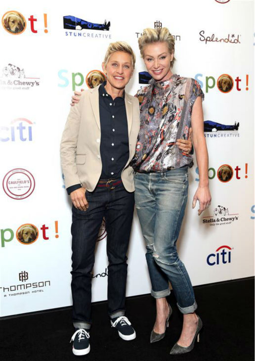 Talk show and 2014 Oscars host Ellen DeGeneres and wife Portia de Rossi appear at the Saving SPOT! Annual benefit in Beverly Hills, California on Oct. 13, 2013. The two wed in August 2008.  <span class=meta>(Sara Jaye Weiss &#47; Startraksphoto.com)</span>