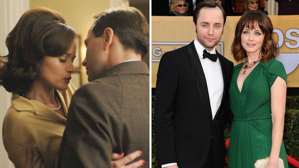 Alexis Bledel and Vincent Kartheiser first met on the set of the hit AMC drama series &#39;Mad Men.&#39; Kartheiser&#39;s character, Pete Campbell, had an extramarital affair with Bledel&#39;s character, Beth Dawes, on the series before becoming engaged in March 2013.  &#40;Pictured: Left -- Alexis Bledel and Vincent Kartheiser in an undated still from AMC&#39;s &#39;Mad Men&#39;. Right -- Alexis Bledel and Vincent Kartheiser at the 19th annual Screen Actors Guild Awards in Los Angeles, California on Ja. 27, 2013.&#41; <span class=meta>(AMC &#47; Kyle Rover &#47; startraksphoto.com)</span>