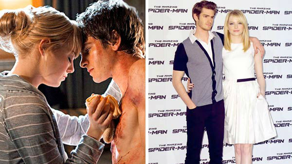 "<div class=""meta ""><span class=""caption-text "">Andrew Garfield and Emma Stone co-starred together in the 2012 comic-book film 'The Amazing Spiderman,' playing love interests Peter Parker and Gwen Stacy. The couple was first spotted together on a movie date in Los Angeles in November 2011 and stepped out on red carpets together while promoting their film.  (Pictured: Left -- Andrew Garfield and Emma Stone in a still from 'The Amazing Spider-Man'. Right -- Andrew Garfield and Emma Stone at the Rome photo call for 'The Amazing Spider-Man'.) (Marvel Entertainment / Columbia Pictures / Marco Provvisionato / startraksphoto.com)</span></div>"