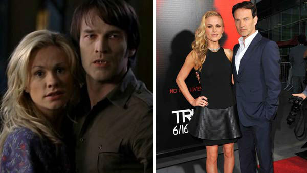 "<div class=""meta image-caption""><div class=""origin-logo origin-image ""><span></span></div><span class=""caption-text"">Anna Paquin and Stephen Moyer first met on the set of the HBO vampire series 'True Blood.' Their characters, Sookie Stackhouse and Bill Compton, were romantically linked on the show before the pair became engaged in August 2009. The duo were married in August 2010 and welcomed twins, a son named Charlie and a daughter named Poppy, in September 2012.  (Pictured: Left -- Anna Paquin and Stephen Moyer in an undated still from HBO's 'True Blood'. Right -- Anna Paquin and Stephen Moyer at the 'True Blood' season 6 premiere party in Los Angeles, California on June 11, 2013.) (HBO / Sara De Boer / startraksphoto.com)</span></div>"