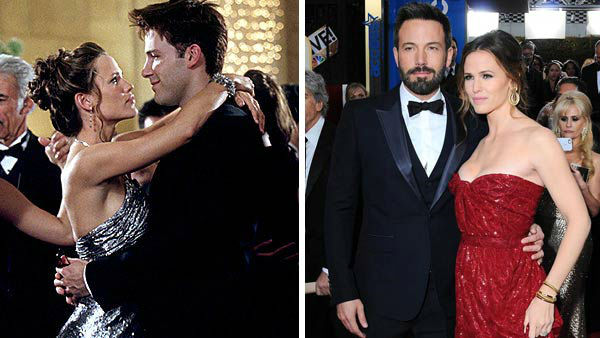 Jennifer Garner and Ben Affleck first met on the set of their 2003 comic-book movie &#39;Daredevil.&#39; Affleck, who was previous engaged to actress and singer Jennifer Lopez, married Garner in June 2005 in a low-key wedding ceremony officiated by Garner&#39;s former &#39;Alias&#39; co-star Victor Garber.  The couple have three children together, daughters Violet and Seraphina and a son named Samuel.  &#40;Pictured: Left -- Ben Affleck and Jennifer Garner in a still from &#39;Daredevil&#39;. Right -- Ben Affleck and Jennifer Garner at the 70th annual Golden Globe Awards in Los Angeles, California on Jan. 13, 2012.&#41; <span class=meta>(20th Century Fox &#47; Sara De Boer &#47; startraksphoto.com)</span>