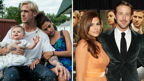 "<div class=""meta ""><span class=""caption-text "">Ryan Gosling and Eva Mendes first met as co-stars in the drama film 'The Place Beyond The Pines,' where the actors played a troubled couple. The two, who rarely make red carpet appearances together, were spotted on dates together in various locations, including Disneyland and Niagra Falls, though have not publically confirmed their relationship.  (Pictured: Left -- Ryan Gosling and Eva Mendes in a still from 'The Place Beyond The Pines'. Right -- Ryan Gosling and Eva Mendes at 'The Place Beyond The Pines' premiere in New York City on March 28, 2013.) (Focus Features / Dave Allocca / startraksphoto.com)</span></div>"