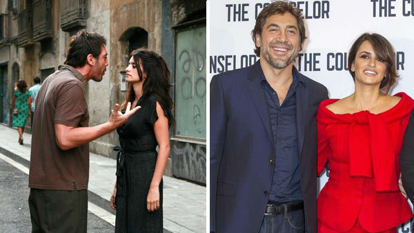 Javier Bardem and Penelope Cruz first met in 1992 while filming the film &#39;Jamon,&#39; and later reunited on-screen in the 2008 Woody Allen film &#39;Vicky Cristina Barcelona. The duo never confirmed their engagement, however they were married in July 2010. The couple have two children together, a son named Leonardo born in January 2011 and a daughter named Luna born in July 2013.  &#40;Pictured: Left -- Javier Bardem and Penelope Cruz in a still from the film &#39;Vicky Cristina Barcelona&#39;. Right -- Javier Bardem and Penelope Cruz at the London photo call for &#39;The Counselor&#39; on Oct. 5, 2013.&#41; <span class=meta>(The Weinstein Company &#47; Graham Whitby Boot &#47; startraksphoto.com)</span>
