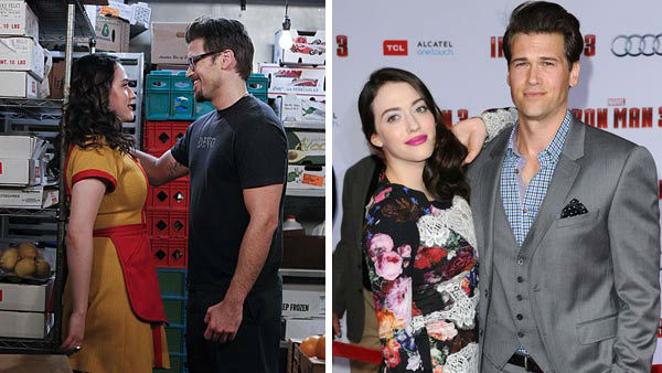 Kat Dennings and Nick Zano first met as co-stars of the hit CBS comedy series &#39;2 Broke Girls.&#39; Their characters, Max Black and Johnny, are on-again, off-again love interests on the show.  &#40;Pictured: Left -- Kat Dennings and Nick Zano in a still from the Oct. 17, 2011 episode of &#39;2 Broke Girls&#39;. Right -- Kat Dennings and Nick Zano at the Iron Man 3 premiere in Los Angeles, California on April 24, 2013.&#41; <span class=meta>(CBS &#47; Sonja Flemming &#47; Sara De Boer &#47; startraksphoto.com)</span>