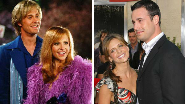 Sarah Michelle Gellar and Freddie Prinze Jr. were co-stars in the &#39;90s thriller &#39;I Know What You Did Last Summer,&#39; however the two did not begin dating until after the film was complete. The couple, who were married in September 2002, later co-starred in the two live-action &#39;Scooby Doo&#39; films. The pair have two children together, a daughter named Charlotte and a son named Rocky.  &#40;Pictured: Left -- Sarah Michelle Gellar and Freddie Prinze Jr. in a still from &#39;Scooby Doo&#39;. Right -- Sarah Michelle Gellar and Freddie Prinze Jr. at &#39;The Grudge 2&#39; premiere in Buena Park, California on Oct. 8, 2006.&#41; <span class=meta>(Warner Bros. Pictures &#47; Michael Williams &#47; startraksphoto.com)</span>