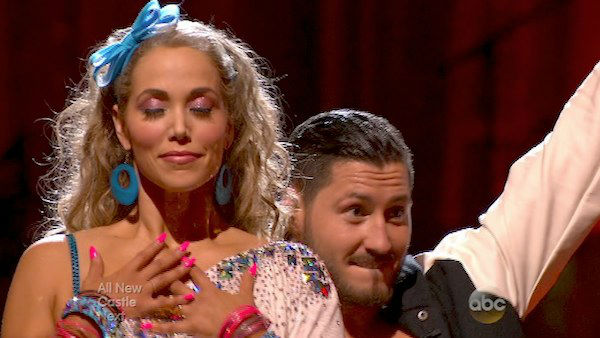 Elizabeth Berkley and Val Chmerkovskiy react to being safe on week five of &#39;Dancing With The Stars&#39; on Oct. 14, 2013. They received 26 out of 30 points from the judges for their Jive. <span class=meta>(ABC Photo)</span>