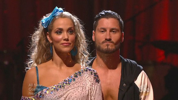 Elizabeth Berkley and Val Chmerkovskiy await their fate on week five of &#39;Dancing With The Stars&#39; on Oct. 14, 2013. They received 26 out of 30 points from the judges for their Jive. <span class=meta>(ABC Photo)</span>