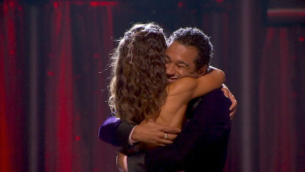 "<div class=""meta image-caption""><div class=""origin-logo origin-image ""><span></span></div><span class=""caption-text"">Corbin Bleu and Karina Smirnoff react to being safe on week five of 'Dancing With The Stars' on Oct. 14, 2013. They received 28 out of 30 points from the judges for their Foxtrot. (ABC Photo)</span></div>"