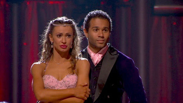 "<div class=""meta ""><span class=""caption-text "">Corbin Bleu and Karina Smirnoff await their fate on week five of 'Dancing With The Stars' on Oct. 14, 2013. They received 28 out of 30 points from the judges for their Foxtrot. (ABC Photo)</span></div>"