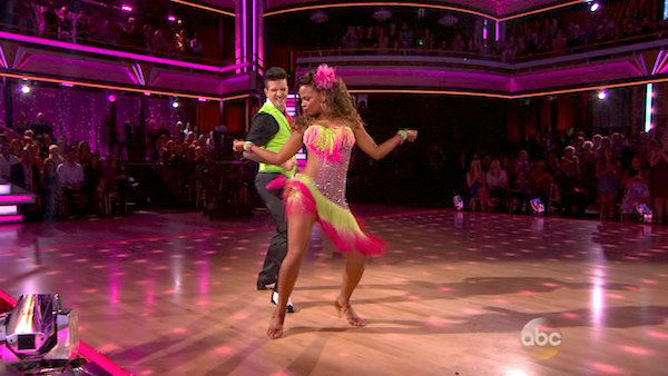 Christina Milian and Mark Ballas dance the Cha Cha Cha on week five of &#39;Dancing With The Stars&#39; on Oct. 14, 2013. They received 28 out of 30 points from the judges. <span class=meta>(ABC Photo)</span>