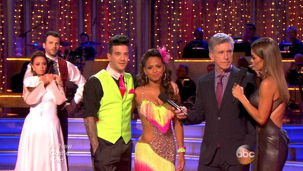 Christina Milian and Mark Ballas react to being eliminated on week five of &#39;Dancing With The Stars&#39; on Oct. 14, 2013. They received 28 out of 30 points from the judges for their Cha Cha Cha. <span class=meta>(ABC Photo)</span>