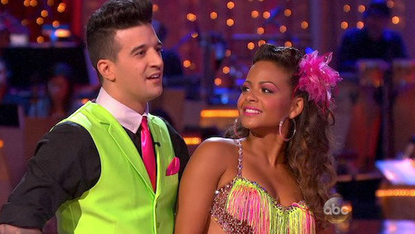 "<div class=""meta image-caption""><div class=""origin-logo origin-image ""><span></span></div><span class=""caption-text"">Christina Milian and Mark Ballas react to being eliminated on week five of 'Dancing With The Stars' on Oct. 14, 2013. They received 28 out of 30 points from the judges for their Cha Cha Cha. (ABC Photo)</span></div>"