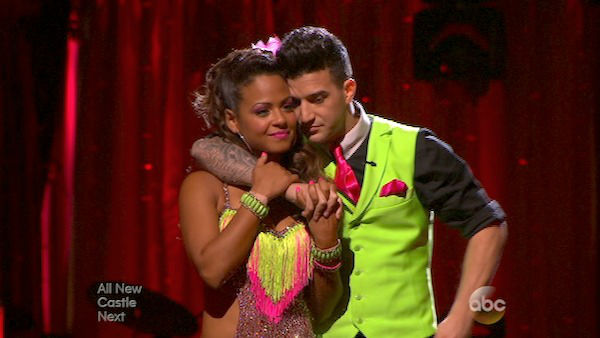 "<div class=""meta ""><span class=""caption-text "">Christina Milian and Mark Ballas await their fate on week five of 'Dancing With The Stars' on Oct. 14, 2013. They received 28 out of 30 points from the judges for their Cha Cha Cha. (ABC Photo)</span></div>"