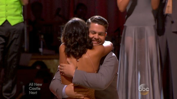 Jack Osbourne and Cheryl Burke react to being safe on week five of &#39;Dancing With The Stars&#39; on Oct. 14, 2013. They received 27 out of 30 points from the judges for their Waltz. <span class=meta>(ABC Photo)</span>